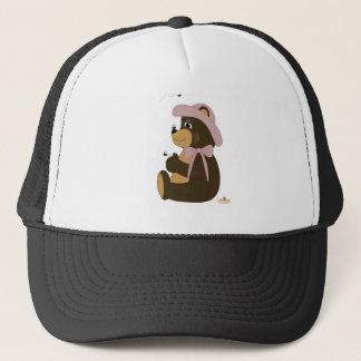 Pretty Brown Bear With Bumble Bees Trucker Hat