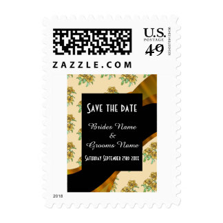 Pretty brown floral pattern save the date postage