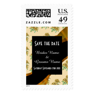 Pretty brown floral pattern save the date postage stamp