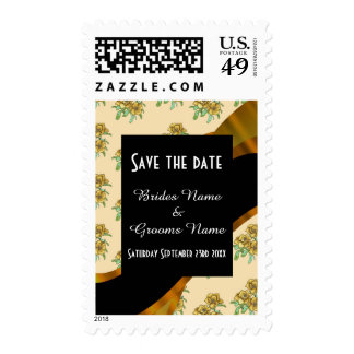 Pretty brown floral pattern save the date stamp