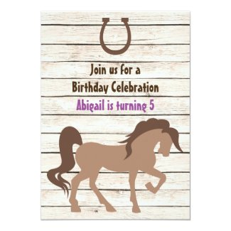 Pretty Brown Horse and Barn Wood Girls Birthday 5x7 Paper Invitation Card