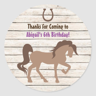 Pretty Brown Horse and Barn Wood Girls Birthday Classic Round Sticker