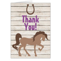 Pretty Brown Horse and Barn Wood Girls Thank You Card