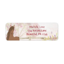 Pretty Brown Horse and Flowers Address Label
