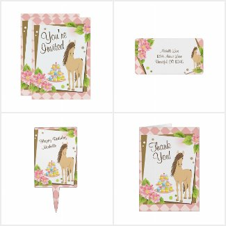 Pretty Brown Horse and Flowers Birthday Collection