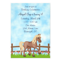 Pretty Brown Horse and Flowers Birthday Invitation