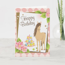 Pretty Brown Horse and Pink Flowers Happy Birthday Card