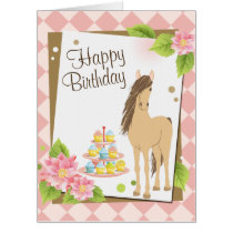 Pretty Brown Horse and Pink Flowers LARGE Birthday Card