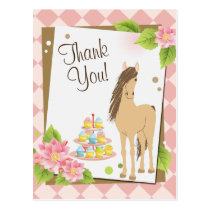 Pretty Brown Horse and Pink Flowers Thank You Postcard