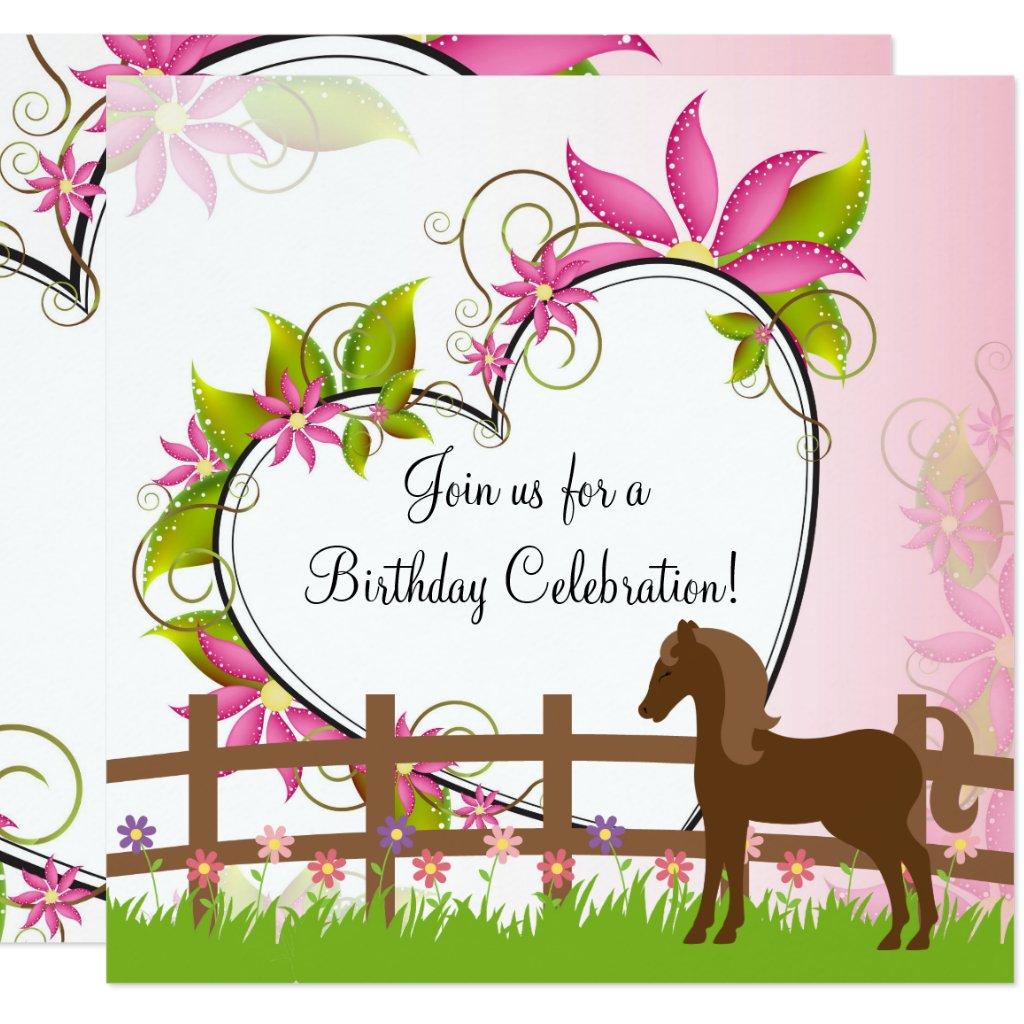 Pretty Brown, Horse Flowers, Heart Birthday Invite