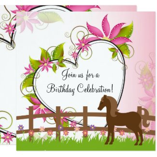 Pretty Brown, Horse Flowers, Heart Birthday Invite