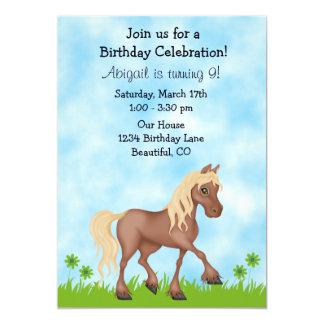 Pretty Brown Horse Girls Birthday Invitation