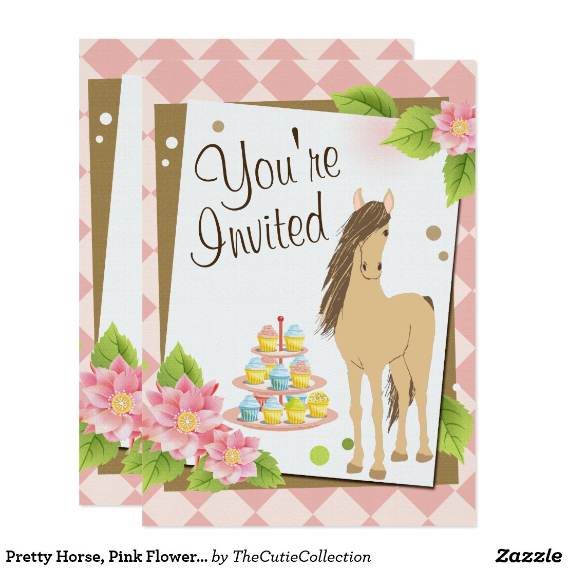 Pretty Brown Horse, Pink Flowers Birthday Invite