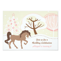 Pretty Brown Horse Pink Winter Birthday Invite