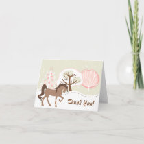 Pretty Brown Horse Snowy Pink Winter Thank You