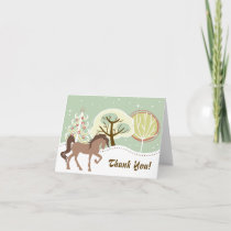 Pretty Brown Horse Snowy Winter Forest Thank You Card