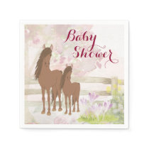 Pretty Brown Horses and Flowers Baby Shower Napkins