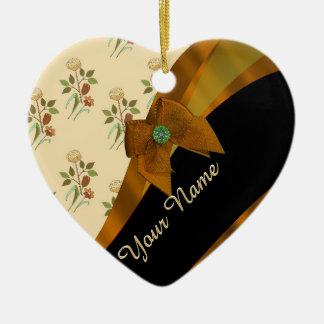 Pretty brown vintage floral flower pattern ceramic ornament