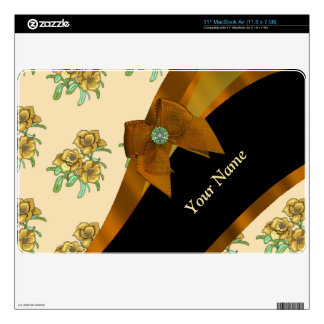 Pretty brown vintage floral flower pattern decal for MacBook air