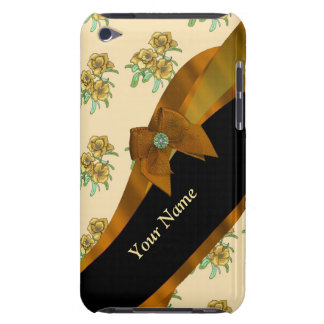 Pretty brown vintage floral flower pattern iPod touch Case-Mate case