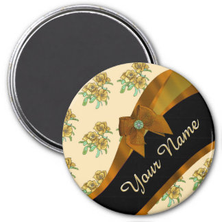 Pretty brown vintage floral flower pattern magnet