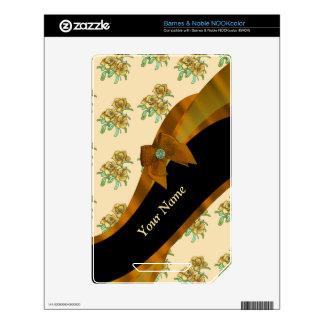 Pretty brown vintage floral flower pattern NOOK color decal