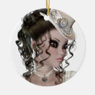 Pretty Brunette Woman Ceramic Ornament