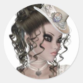 Pretty Brunette Woman Classic Round Sticker