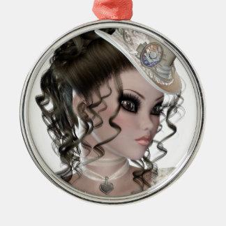 Pretty Brunette Woman Metal Ornament