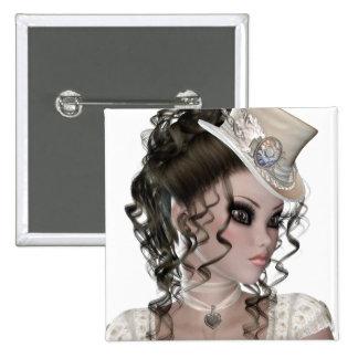 Pretty Brunette Woman Pinback Button