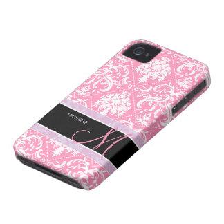Pretty Bubblegum Pink and white damask w/ monogram iPhone 4 Case-Mate Case