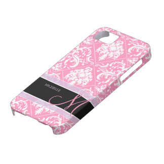 Pretty Bubblegum Pink and white damask w/ monogram iPhone SE/5/5s Case