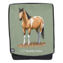 Pretty Buckskin Paint Horse Backpack