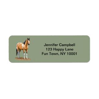 Pretty Buckskin Paint Horse Label