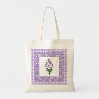 Pretty Budget Tote Bag: Violets and Gingham