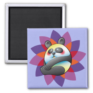 Pretty bulging bear and colorful flower 2 inch square magnet