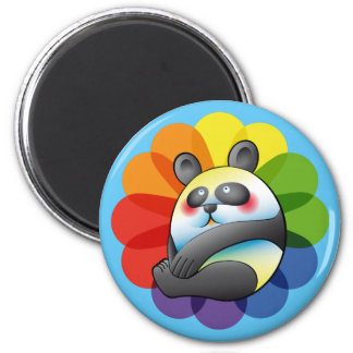 Pretty bulging bear and multicoloured flower 2 inch round magnet