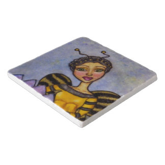Pretty Bumble Bee Fairy Purple Flower Trivets