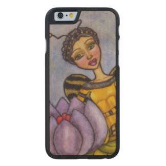 Pretty Bumble Bee Fairy Purple Flower Carved® Maple iPhone 6 Case