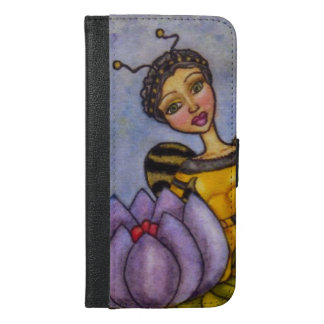 Pretty Bumble Bee Water Color Fairy Purple Flower iPhone 6/6s Plus Wallet Case