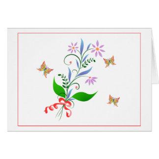 Pretty Bunch of Flowers and Fluttering Butterflies Card