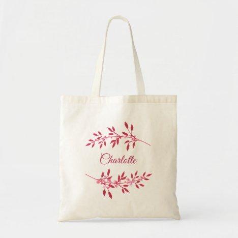 Pretty Burgundy Pink Name Watercolor Floral Tote Bag