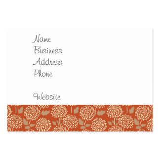 Pretty Burnt Orange Floral Pattern Gifts for Her Large Business Card