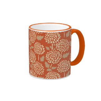 Pretty Burnt Orange Floral Pattern Gifts for Her Coffee Mug