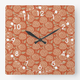 Pretty Burnt Orange Floral Pattern Gifts for Her Square Wall Clock