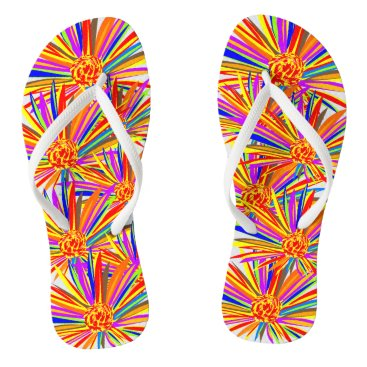 Beach Themed Pretty burst of color floral flip flops