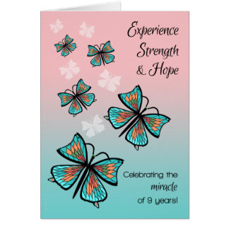 Pretty Butterflies 9 Year Recovery Birthday Card