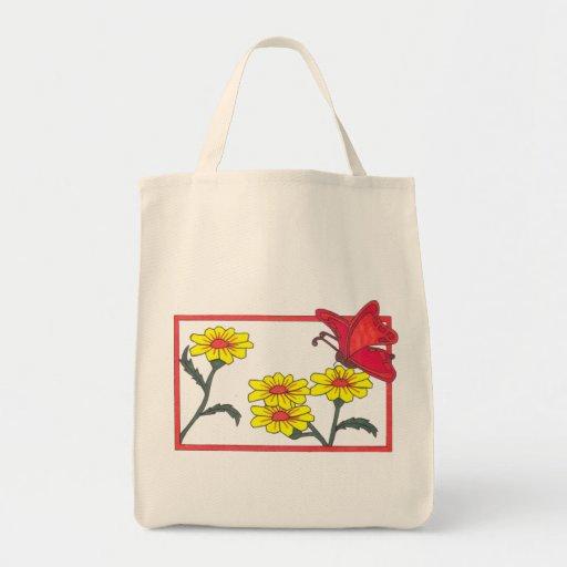 Pretty Butterflies & Flowers Grocery Tote Bag