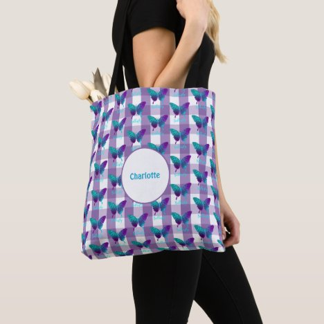 Pretty Butterflies Gingham Plaid Patterned Tote Bag