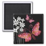 """Pretty Butterflies"" (mauve) by Cheryl Daniels 2 Inch Square Magnet"